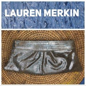 Lauren Merkin Metallic Reptile Print Clutch
